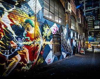 Street Art Graffiti, Graffiti Wall Art, Dad Gift, ACDC Poster, Photography Print, Melbourne Australia, lounge decor, Angus Young, photo