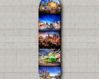 Skateboard Deck Wall Art, Melbourne Skateboard,  Lounge Room Decor, Photography Skatedeck, Melbourne Photo, Garage Art, Unique Travel Gift