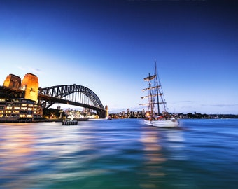 Sydney Harbour Bridge, Sydney Print, Australia Photograph, Travel Poster, Wedding Gifts for Couple, city skyline, water reflection, sailboat
