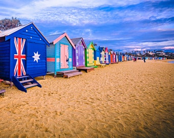 Brighton Beach Boxes, Seaside Decor, Australian made, Brighton Beach Huts, Melbourne Photography, Travel Photo, House warming Gift