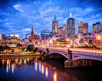 Melbourne Photography Sunset Prints Flinders Street Wall Art Wedding Gift for Him Large Fine Art Lounge Decor  Gift