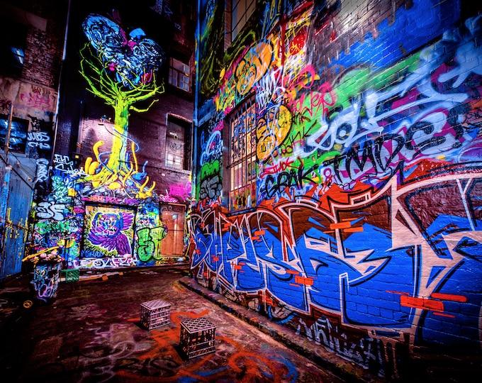 Featured listing image: Tree of Life wall art, Street Art Graffiti, Melbourne Photography, Hosier Lane, Apartment Gift, Urban Poster, Travel Gift, Australian made