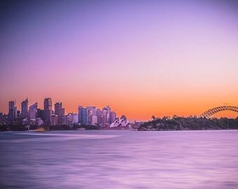 Sydney Australia Print, Sydney Opera House, Sydney Harbour Bridge, skyline wall art, Sunset Photo, Travel Photography, Birthday Gift for