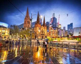 Melbourne Photograph, rain poster, skyline Prints, Melbourne Art, sunset photography, Australia Made, Travel Poster, Birthday Gifts for her