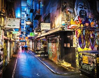 For Martine, Graffiti Photography, Melbourne Print, Street Art Wall Photo, Centre Place, Laneway Print Boyfriend Gift for Him 140x200cm size