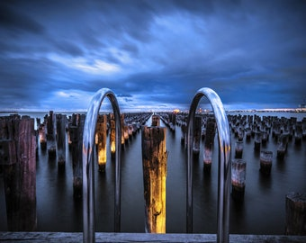 Melbourne Photography Princes Pier Wall Art Prints Blue Sunset Office Decor Birthday Gift for Him Travel Photo 12x16in