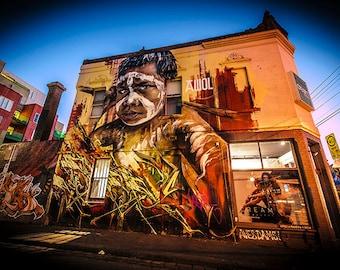 Melbourne Print, Graffiti Photography, Australian Street art, Street Art Wall Art, lounge decor, indigenous Australia art, boyfriend gift