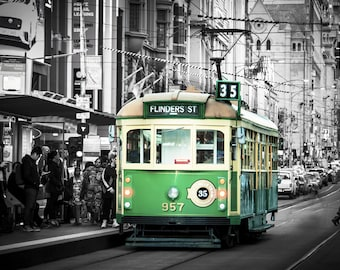 Melbourne Photograph, black and white, wall art, tram photo, Melbourne print, Travel Poster, Australia made, Melbourne tram, gifts for men