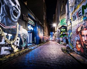 Street Art Print, Graffiti Wall Art, Melbourne photography, philadelphia 76ers poster, Hosier Lane, spray paint art, Boyfriend Gift ideas