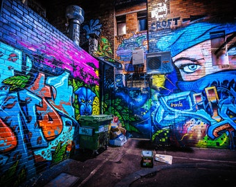 Ninja Mask, Street Art Print, Graffiti wall art, Melbourne Photo, Australia Poster, Travel Photograph, blue decor, Croft Alley, Gift for Her