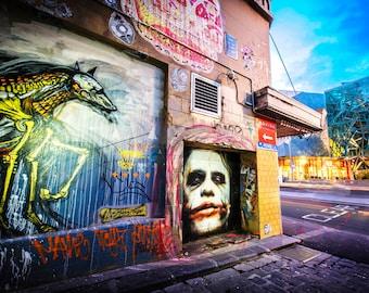 Melbourne street art, Graffiti Photography, Dark Knight Joker Poster, Melbourne Graffiti, urban wall art, Hosier Lane Boyfriend Gift for Son