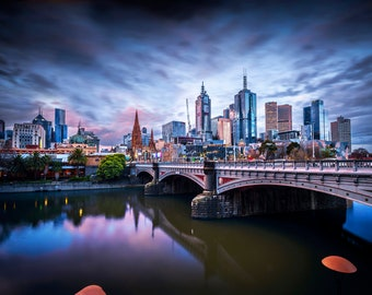 Melbourne Photograph, City Sunset, blue wall art, Photography Prints, Melbourne Art, city skyline, Travel Poster, Wedding Gifts, Yarra River