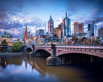 Melbourne Print, Color Photography, Melbourne City Skyline Photos, Large Wall Art Photograph, Flinders Street Station, Australian cityscape
