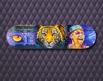 Skateboard Deck Wall Art, Street Art Print, Graffiti Decor, Tiger Eye Print, teenage boy gift, teen room decor, girlfriend gift, purple art