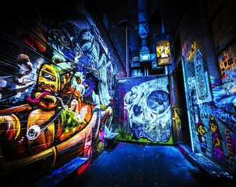 Street Art Mural, Melbourne Photography, Graffiti wall art, blue poster, skull decor, urban photography, ACDC Lane, Boyfriend Gift, Fathers