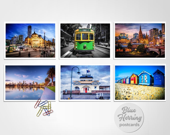 Featured listing image: Melbourne Postcards, Pack of Six, Australian Travel, Melbourne Skyline photography print set, Flinders Street Tram, Brighton Beach St.Kilda