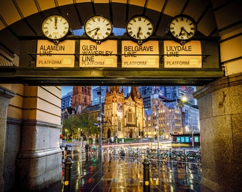 Flinders Street Station, train station clock, Melbourne Print, Australia Photography, Extra Large Wall Art, Travel Poster, under the clocks