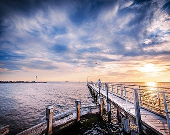 StKilda Photo Beach Photography Sunset Wall Art Pier Photograph Lighthouse Wedding Gift for Her 8x12 Print Brookes Jetty