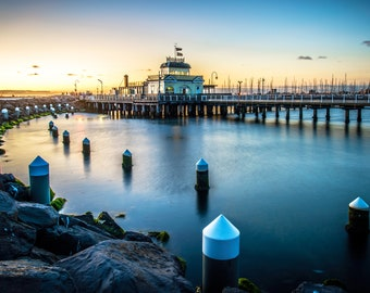 St.Kilda Pier Jetty, Melbourne Australia, St Kilda Print, Nautical Decor, Beach Travel Photo, coastal prints, seaside art, beach print