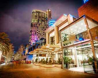 Melbourne Crown Casino, Melbourne wall art, Travel Photography, dark wall art, night print, sunset sky, gold wedding anniversary gift