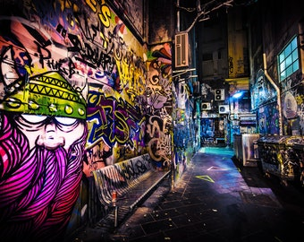 Street Art Print, Graffiti Wall Art, Melbourne Photography, Urban Posters, Viking Photo, Travel gift, Melbourne laneway, Boyfriend gift