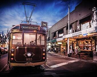 Melbourne Tram, Australia Travel Decor, St Kilda Print, Tram Art, Acland Street, Tramway Photo, WClass Tram, Australian travel art, presents