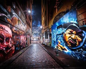 Street Art Print, Graffiti Wall Decor, Melbourne Photo, Hosier Lane Photograph, Australia Travel Art, Laneway culture, Gift for boyfriend