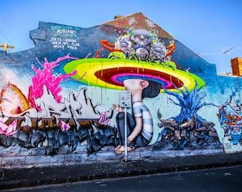 Rainbow Graffiti, Street Art wall art, Melbourne Photography, nursery decor, colourful print, childrens art display, Girl Boy friend Gift