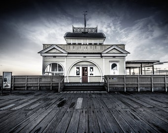 St Kilda Print, Black and white prints, St.Kilda Pier, Melbourne Australia, Nautical Decor, Monochrome Photography, St. Kilda gift, 4x6 art
