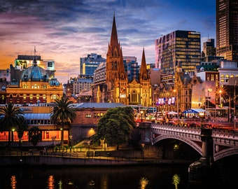 Melbourne Photograph, Flinders Street, Australia made, Sunset wall art, Photography Gifts, Melbourne Print, Travel Poster, Wedding Gifts