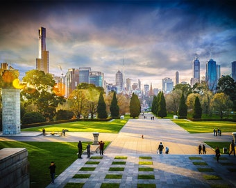 Melbourne Photograph, Sunset Print, Melbourne skyline, Large Wall Art Decor, Travel Photo, Shrine of Remembrance, Birthday Gifts for Her