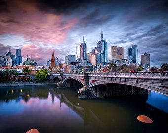 Melbourne Photograph, City skyline, Photography Prints, Australia Art, night sky print, sunset wall art, Travel Photo, Wedding Gifts