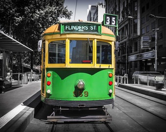 Melbourne Photography Tram Art Flinders Street Green Lounge Decor Prints City Wedding Gift for Child Travel 8x12in Photo
