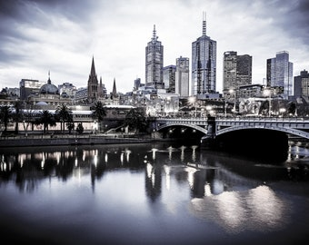 Melbourne Print, black and white photography, Melbourne City Skyline Photos, Large Wall Art, Flinders Street Station, Australian cityscape