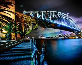 Sydney Harbour Bridge Print, Opera House, Australia Photograph, Zoom background, Travel Poster, Wedding Gift, night sky wall art, dark decor