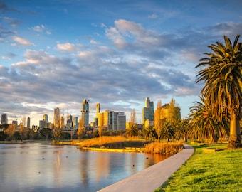 Melbourne Photograph, City Skyline, Albert Park Lake, Extra Large Wall Art, Zoom Background, Travel Poster, Australia made, Grand Prix