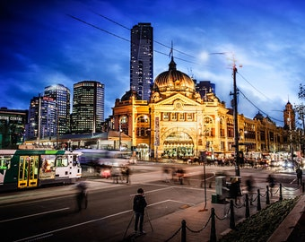 Flinders Street Station, Melbourne Photograph, Sunset wall art, Photography Prints, Melbourne Art, Travel Poster, Birthday Gift for him