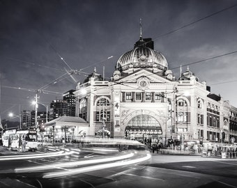 Melbourne city wall art, Black and White prints, Flinders Street Station, Australian made, Melbourne Art, Housewarming gift, home decor
