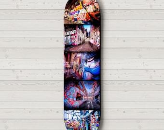 Skateboard Deck Wall Art Boys Room Decor Street Art Graffiti Skate Photography Melbourne Photo, Hosier Lane Unique Gift for Teenager