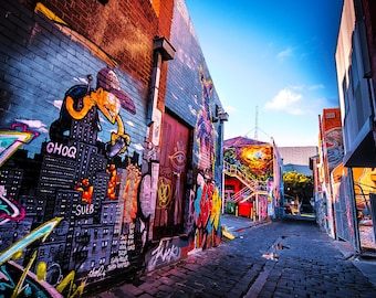 Graffiti Wall Art, Street Art Print, Melbourne Photograph, Artists Lane, Colour Street, spray paint art, teenage room decor, Christmas gift