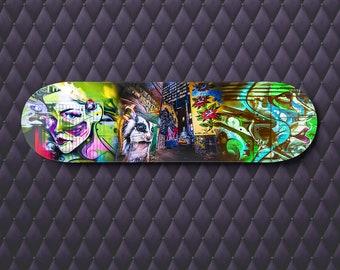 Skateboard Art, Street Art Decor, Graffiti Painting, Melbourne Photo, teenage girl room decor, boyfriend birthday gift, green deck wall art