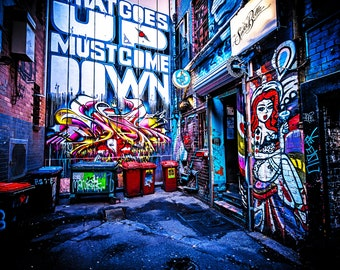 Graffiti Wall Art, Melbourne Print, Street Art Photography, Drewery Lane Modern Art Prints Wedding Gift for her