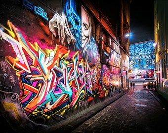 Graffiti Photography, Melbourne Print, Street Art Photo, Hosier Lane, apartment gift, spray paint art, urban photography, Boyfriend Gift