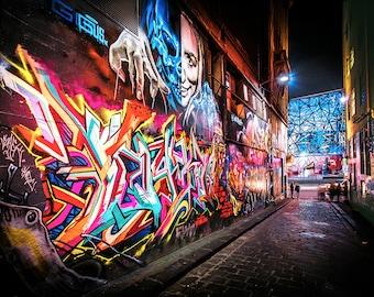Graffiti Photography, Melbourne Print, Street Art Photo, Hosier Lane, apartment gift, spray paint art, urban photography, Boyfriend Gift