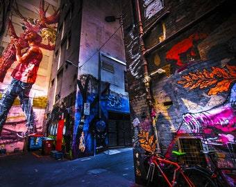 Street Art Print, Graffiti Wall Art, Melbourne Photography, ACDC lane, Australia Travel Poster, Boyfriend Gift for Him, Colour Street, teen