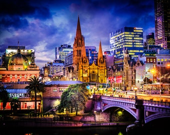 Melbourne Australian, city print, Flinders Street Station, Photography backdrop, sunset wall art, Travel Gift, Extra Large Canvas, office