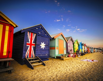 Brighton Beach Boxes, Coastal Decor, Australian made, Brighton Beach Huts, Melbourne Photograph, Travel Photo, House warming Gift, Australia