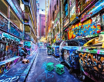 Street Art Print, Graffiti Wall Art, Melbourne Photography, Hosier Lane, industrial decor, spray paint art, urban jungle, Fathers Day Gift
