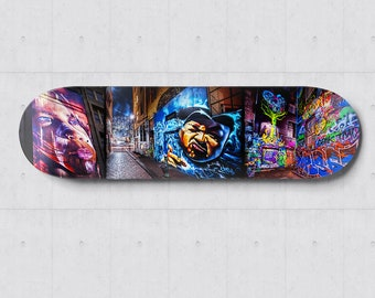Graffiti Skateboard Wall Art, Street Art Skatedeck, Melbourne Photograph, Hosier Lane, Apartment Lounge Art, Wall Decor Special Gift for Him
