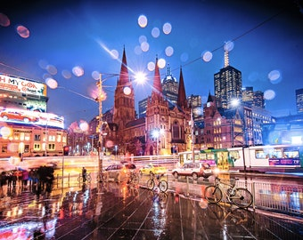 Melbourne Print, Flinders Street Station, city night wall art, Photography Gift, Australia travel poster, rain water print, Melbourne tram